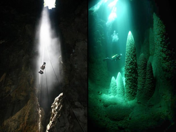 Abismo-Anhumas-in-Bonito-Brazil-visitors-rappel-down-through-the-hole-and-then-dive-in-the-underground-cave