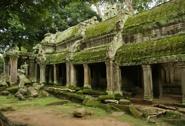 Finely-carved-reliefs-and-corridors-from-the-ruins-of-the-Buddhist-temple-of-Angkor