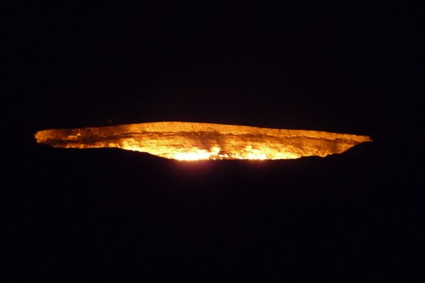 Flaming-crater-at-night