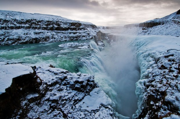 Iceland-waterfall-Golden-Falls-Gullfoss-and-chasm-in-early-March