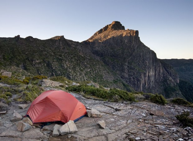Tent-at-High-Shelf-Camp-near-Mt-Anne-Southwest-National-Park-Tasmanian-Wilderness-World-Heritage-Area-Tasmania-Australi