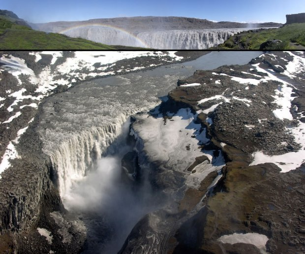 Top-panorama-of-Dettifoss-bottom-is-aerial-view-of-the-waterfall-taken-in-May